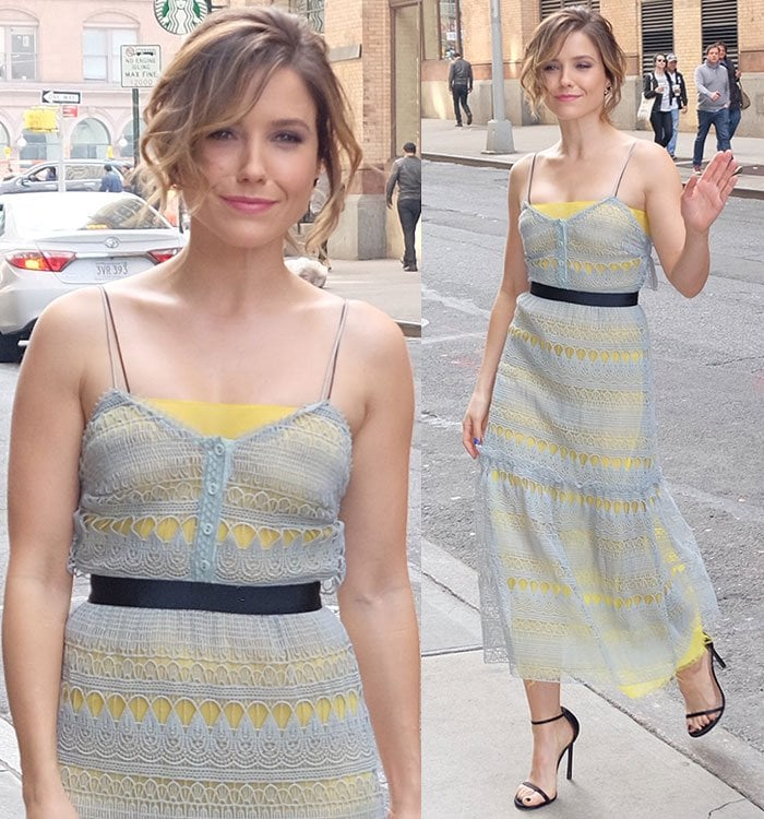 Sophia Bush wears a gray-and-yellow Self Portrait dress out in New York City
