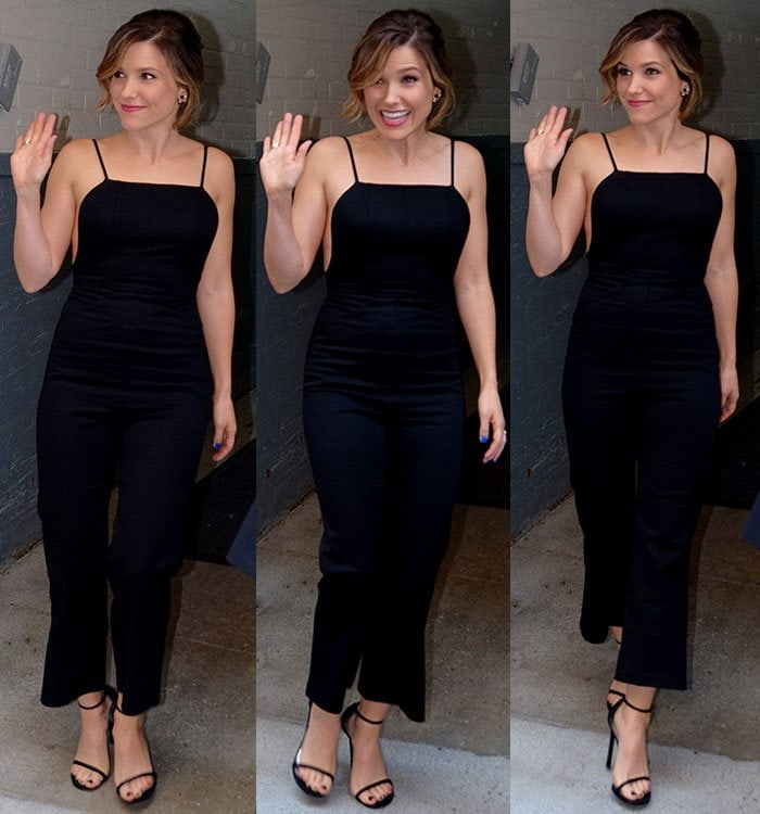 Sophia-Bush-black-jumpsuit-sandals