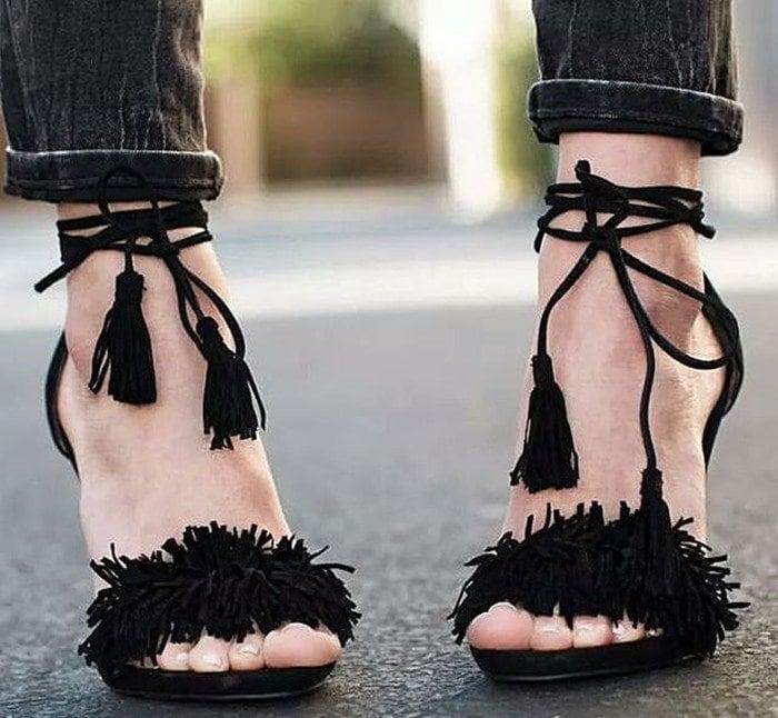 Steve Madden 'Sassey' Fringe Sandals in Black