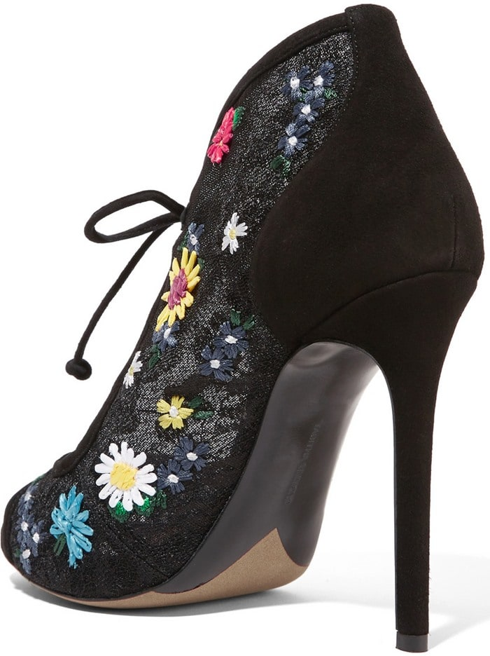 Tabitha Simmons Dusty Meadow floral-embroidered lace and suede heels