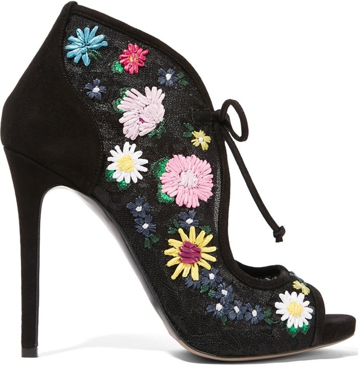 Tabitha Simmons Dusty Meadow floral-embroidered lace and suede sandals