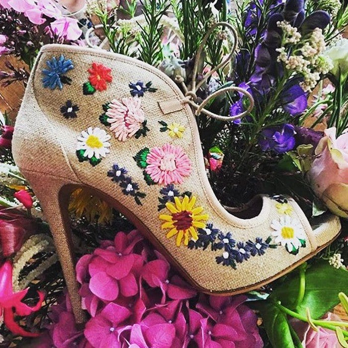 Tabitha Simmons Dusty Meadow floral-embroidered sandals