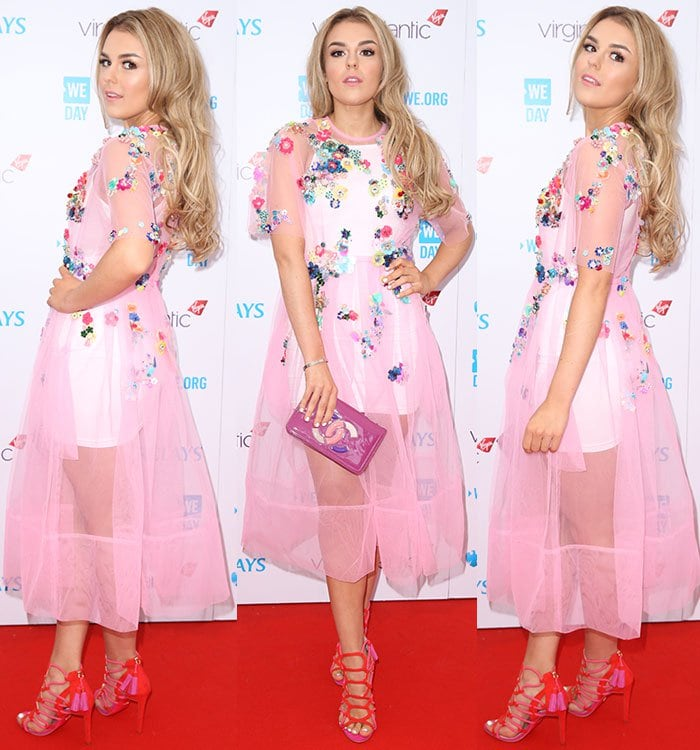 Tallia-Storm-pink-embellished-see-through-dress-We-Day