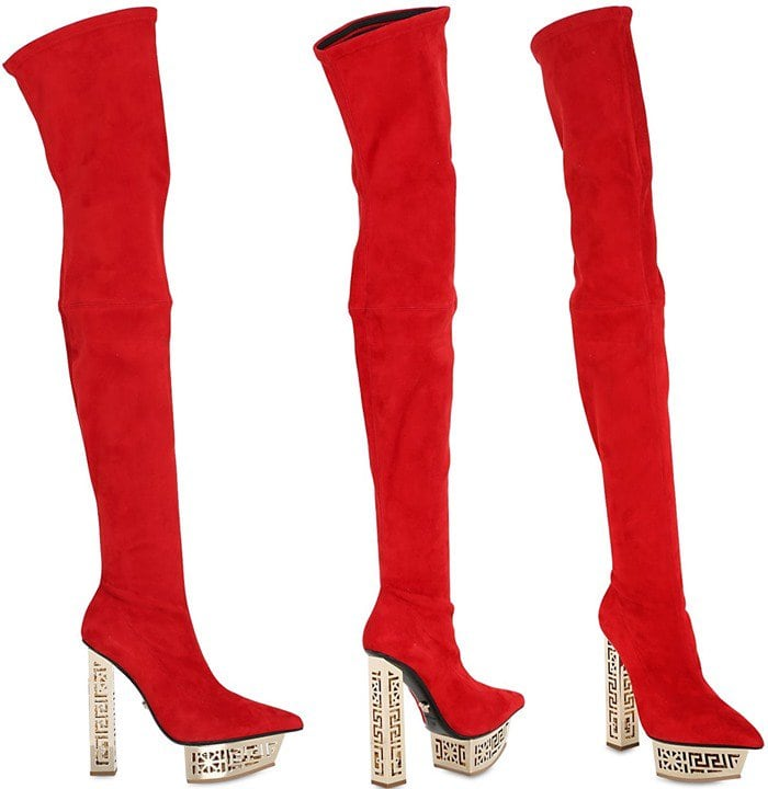 Versace Red Stretch Suede Over-The-Knee Boots