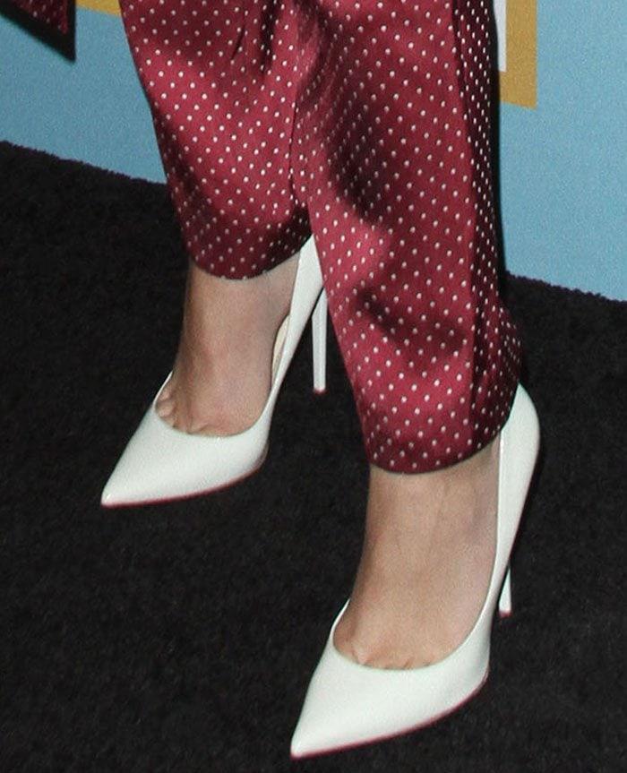 "Zendaya's feet in leather ""Anouk"" pumps"