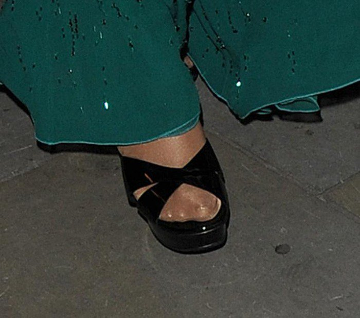Mariah Carey's feet in black patent sandals