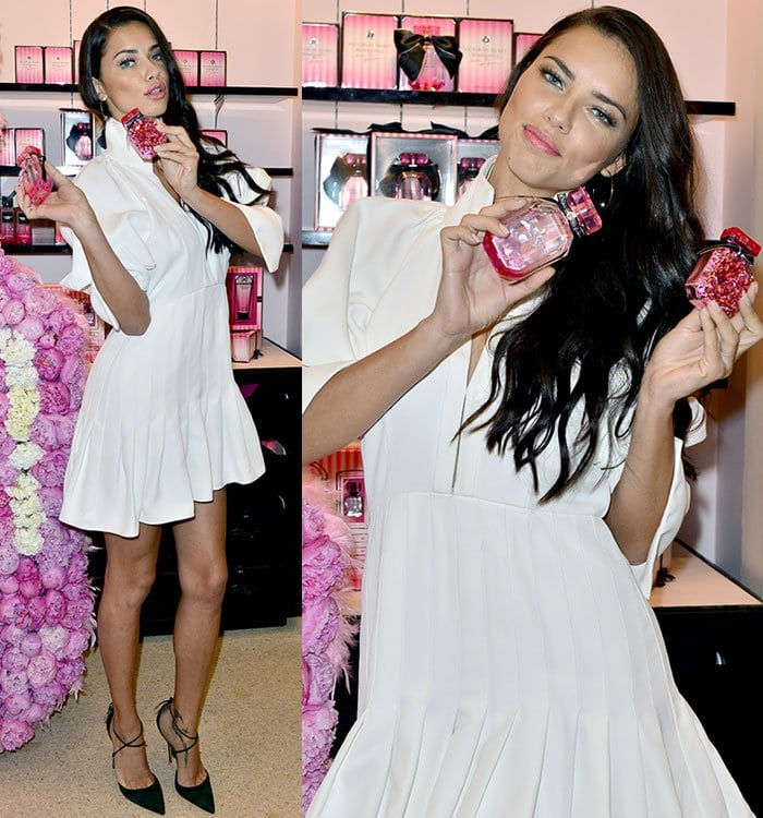 Adriana-Lima-legs-white-mini-dress-black-pumps