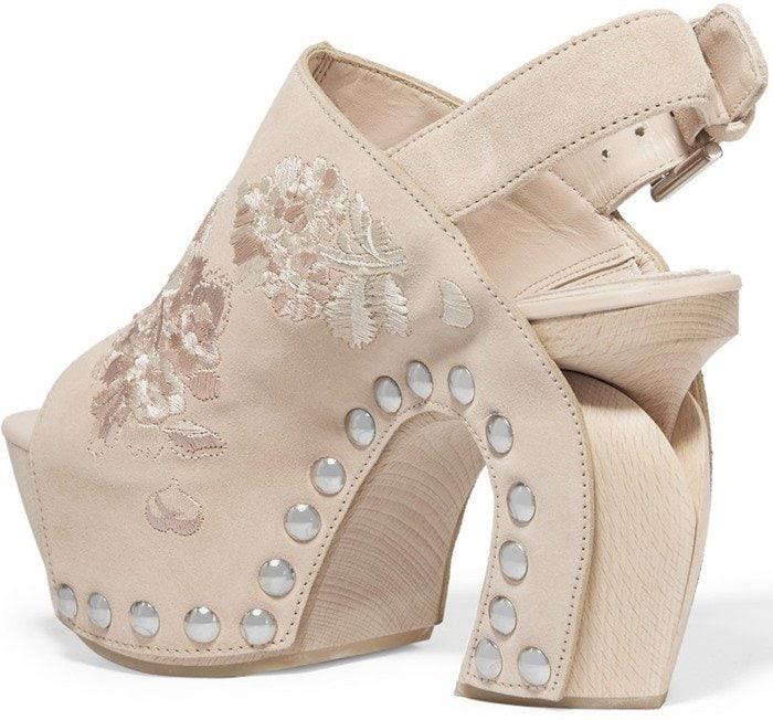Alexander McQueen Embroidered suede clog heels