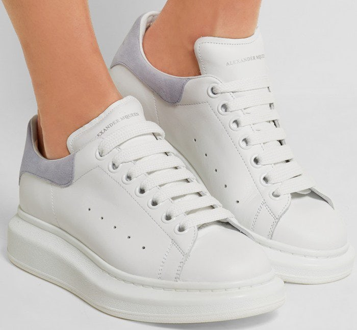 Alexander McQueen Leather and suede exaggerated-sole sneakers