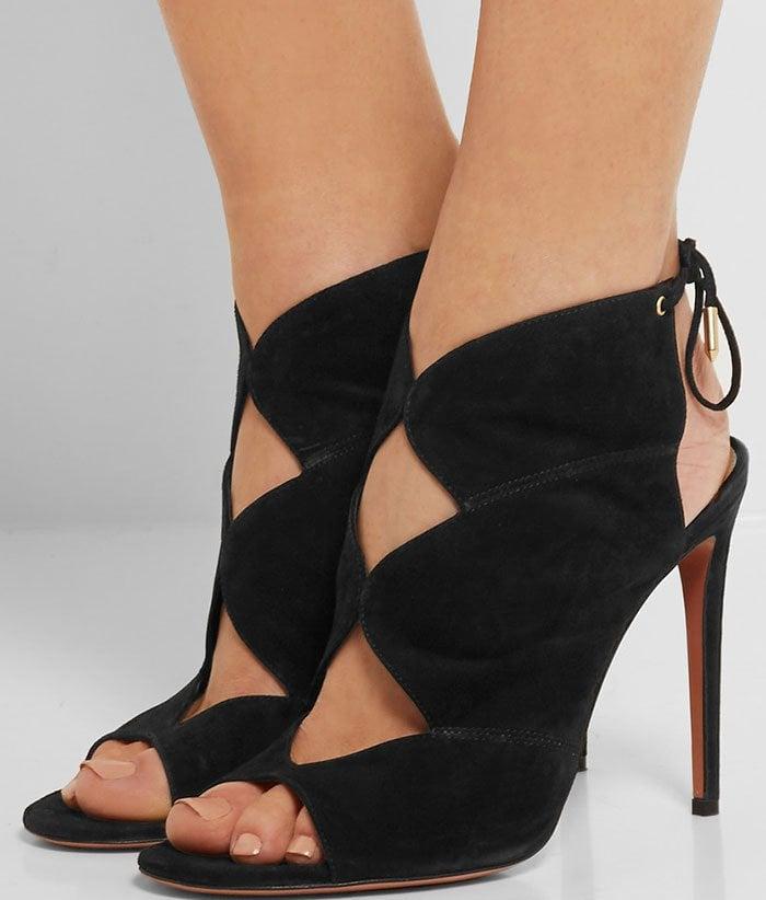 Aquazzura-Pasadena-cutout-suede-sandals-1