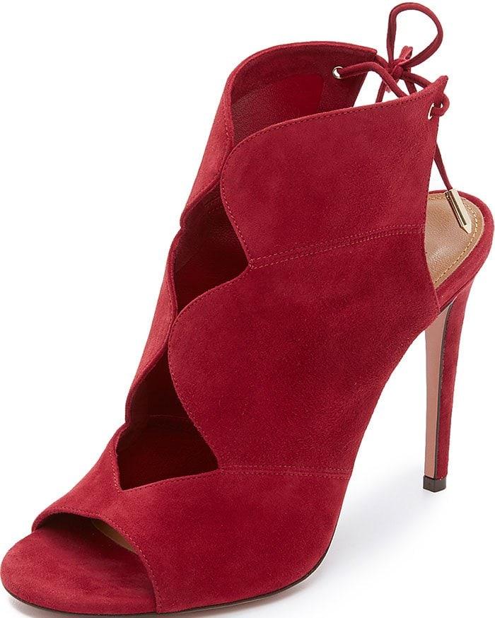 Aquazzura-Pasadena-cutout-suede-sandals-Red
