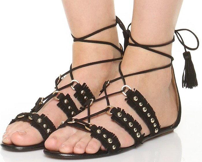 Aquazzura Tulum Flat Sandals in Black