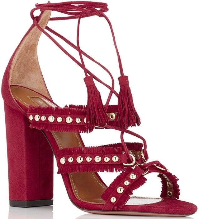 Aquazzura Tulum Sandals in Red