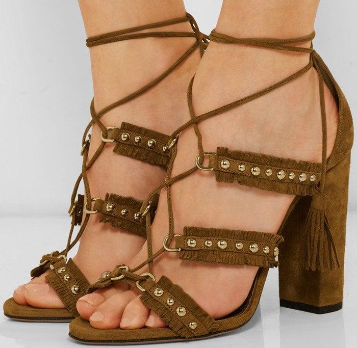Aquazzura Tulum fringed studded suede sandals