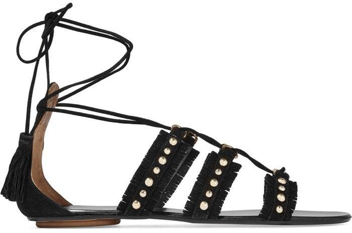 Aquazzura Tulum studded suede sandals in black