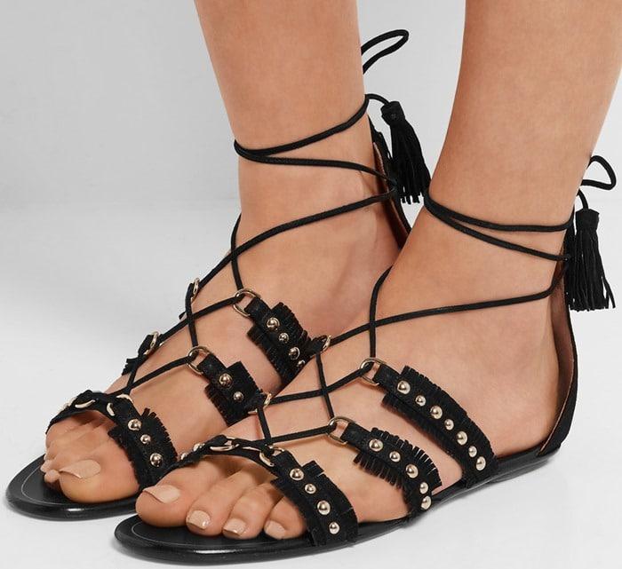 Aquazzura Tulum studded suede sandals