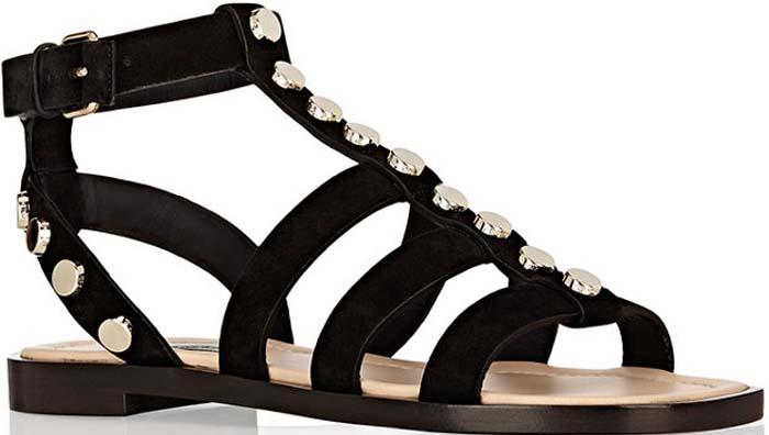 Balenciaga Studded Gladiator Sandals Black