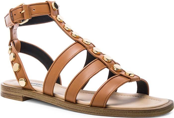 Balenciaga Studded Gladiator Sandals Cognac