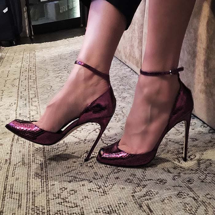 Brian Atwood Oriana Peep Toe Ankle Strap Pumps