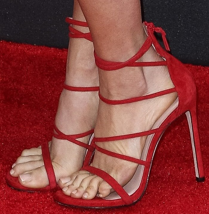 Brittany Snow Wears Red Stuart Weitzman Myex Sandals