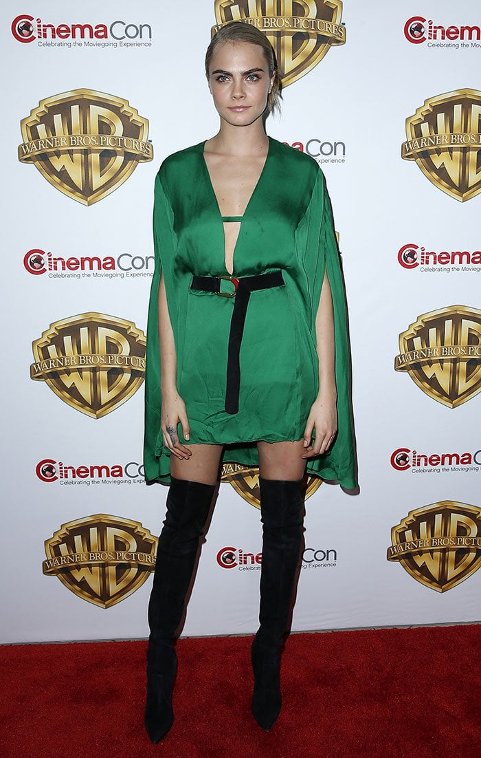 """hanneled her inner """"Enchantress"""" in a green cape-sleeved mini dress from Barabara Bui's Fall 2016 collection"""