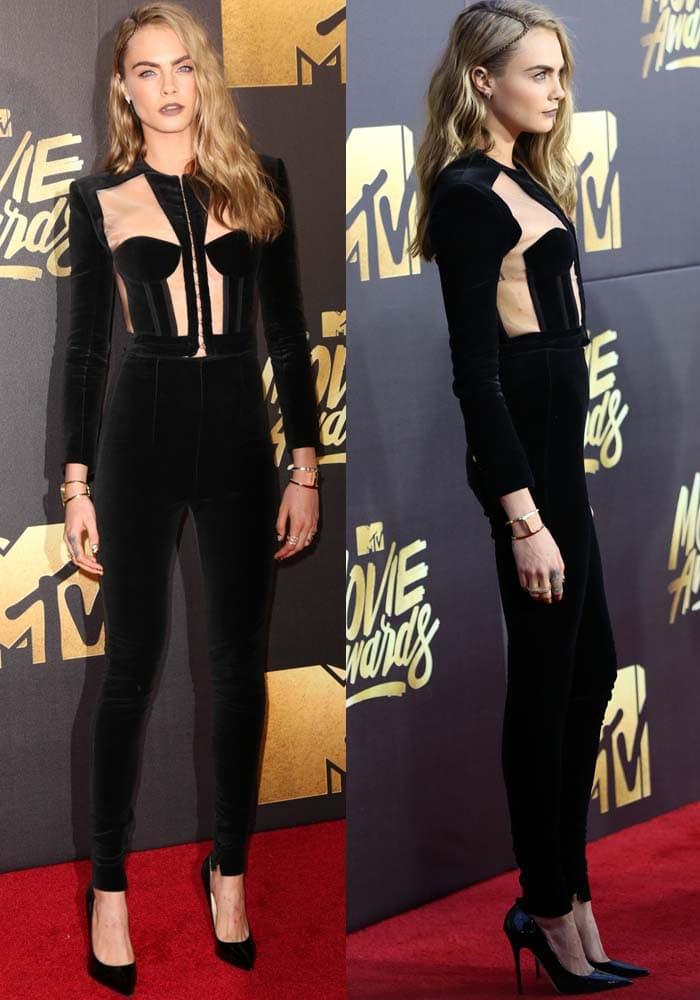 Cara Delevingne insheer cutout jumpsuit in black velvet by Balmain