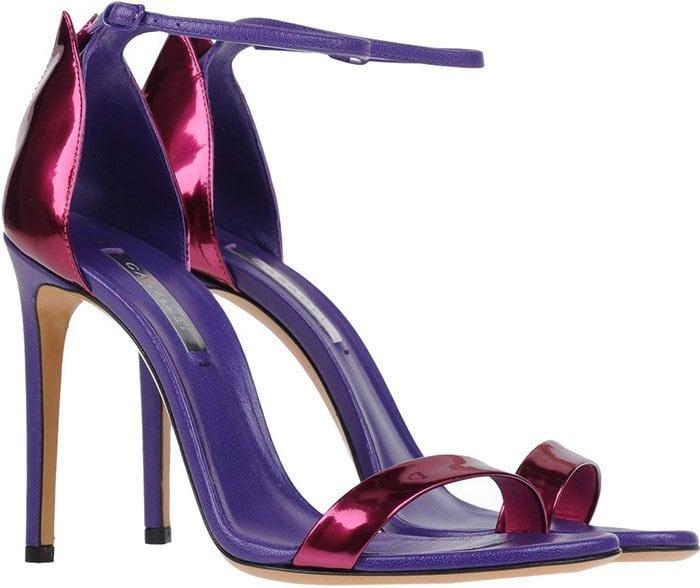 Purple Metallic Casadei Ankle-Strap Sandals