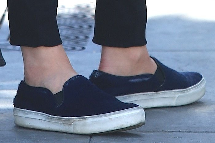 Chloe Moretz blue slip-on sneakers