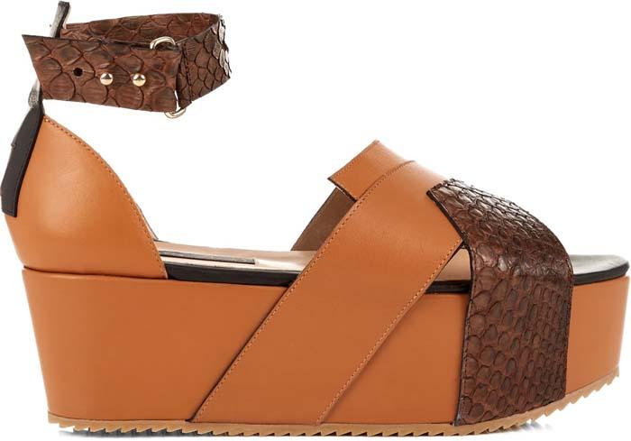 "Chrissie Morris ""Kenia"" Leather and Snakeskin Flatform Sandals"