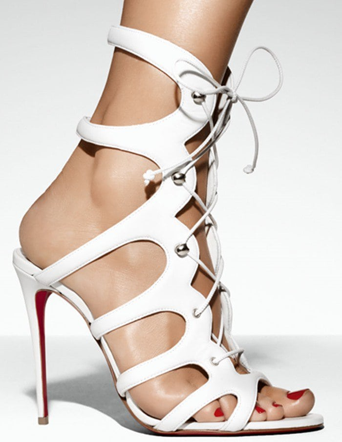 d0a3f3775ccb Christian Louboutin Amazoulo 100 lace-up suede sandal in white leather