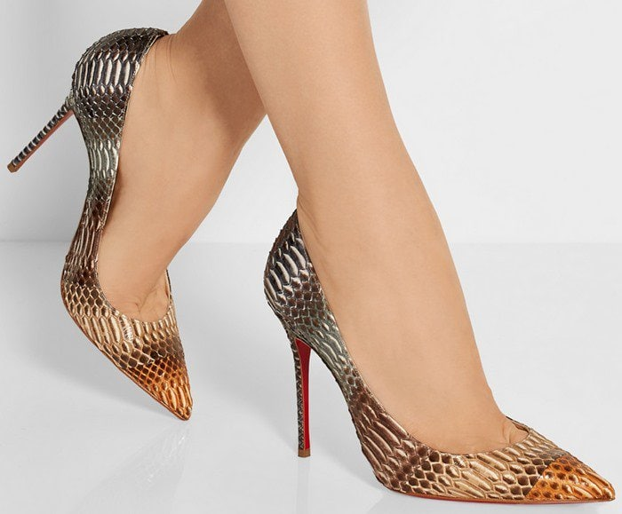 Christian Louboutin Pigalle Follies 100 suede pumps snake