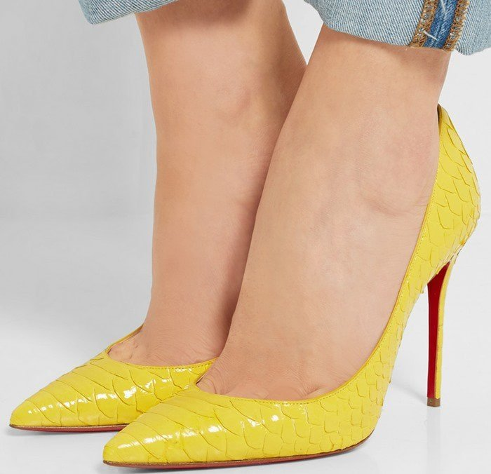 Christian Louboutin Pigalle Follies 100 suede pumps yellow python