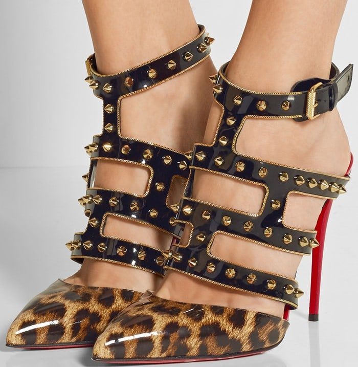 f082b350333a Christian Louboutin Tchicaboum 100 spiked leopard-print patent-leather pump