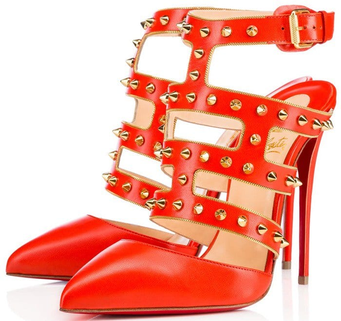 Christian Louboutin Tchicaboum Studded Leather Pump Red