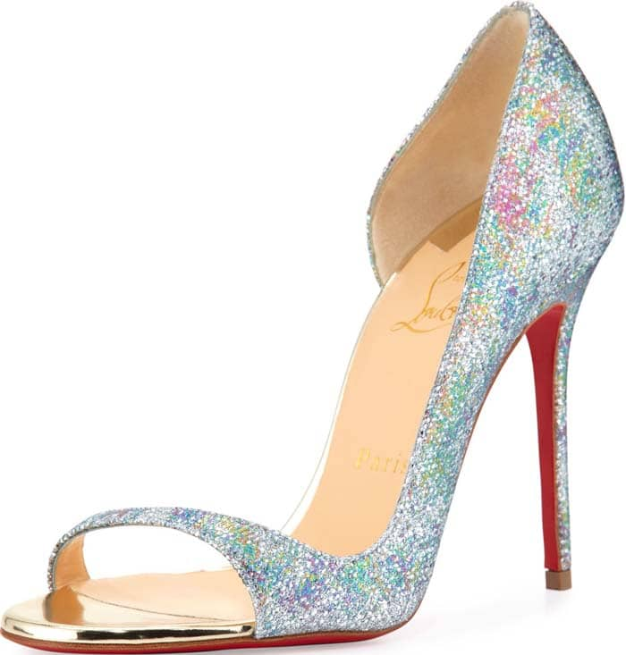 Christian Louboutin Toboggan Glitter 100mm Red Sole Pump, Multi/Light Gold