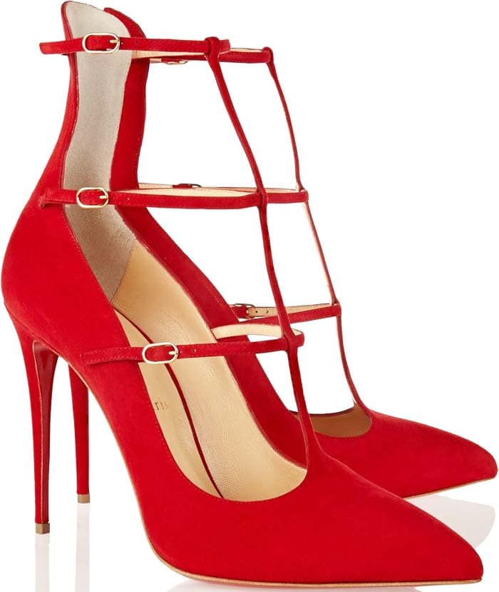 """Christian Louboutin Red Suede """"Toerless"""" 100mm Suede Pumps"""