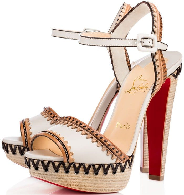 Christian Louboutin Trepi High 140 embellished leather sandals in ivory
