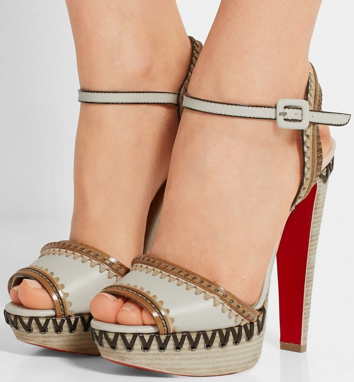 Christian Louboutin Trepi High embellished leather sandals in ivory