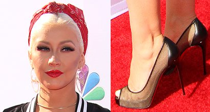 92109f18ef44 Christina Aguilera Goes Retro Glam in Christian Louboutin  Very Rete  Pumps  and Rosie the Riveter Hairstyle