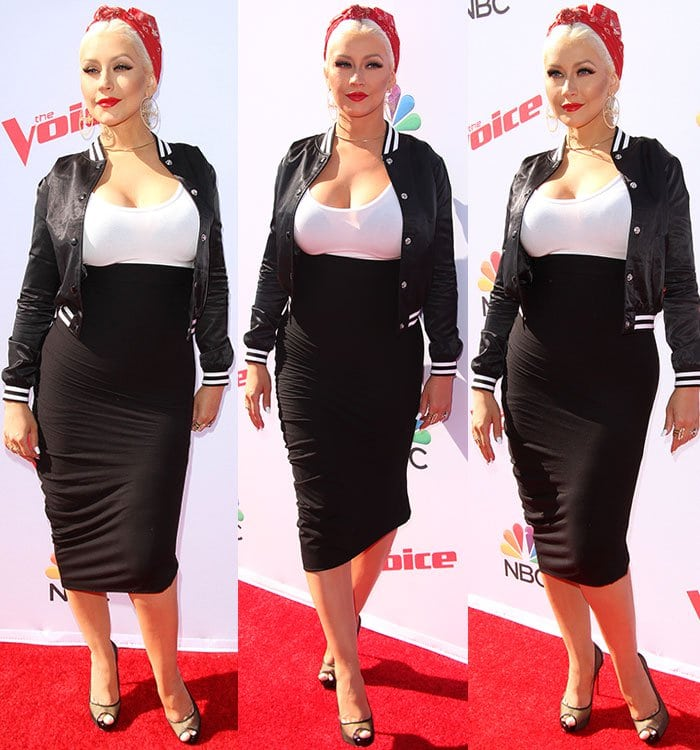 Christina-Aguilera-curves-cleavage-white-tank-black-skirt