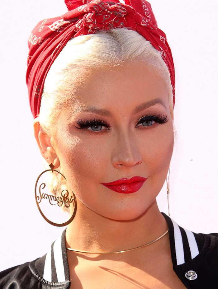 Christina-Aguilera-red-lipstick-Summer-Rain-earrings-red-bandana