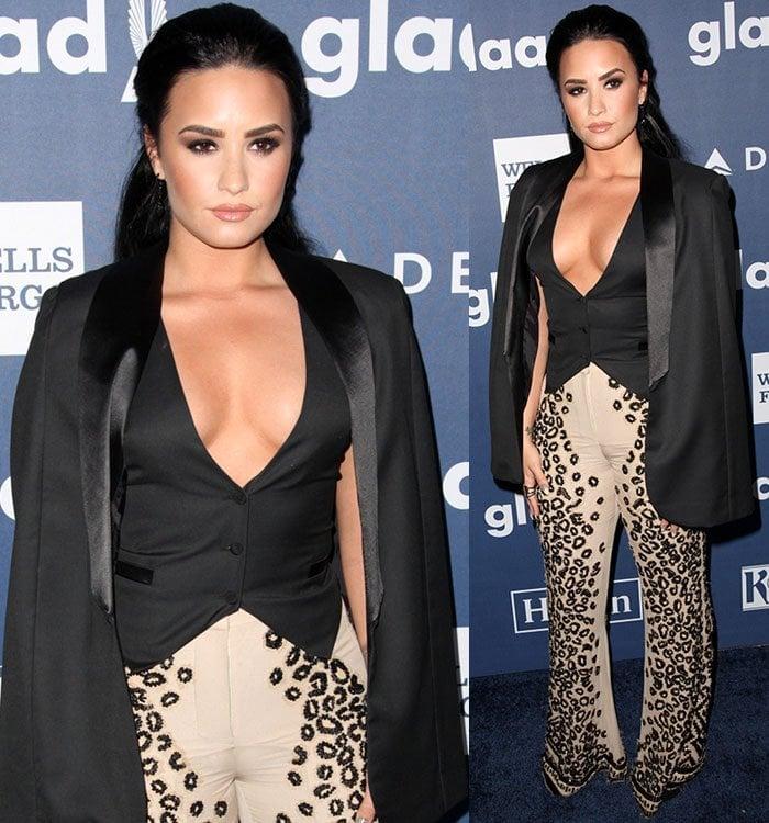 Demi-Lovato-Sass-Bide-cheetah-pants-waistcoat-blazer