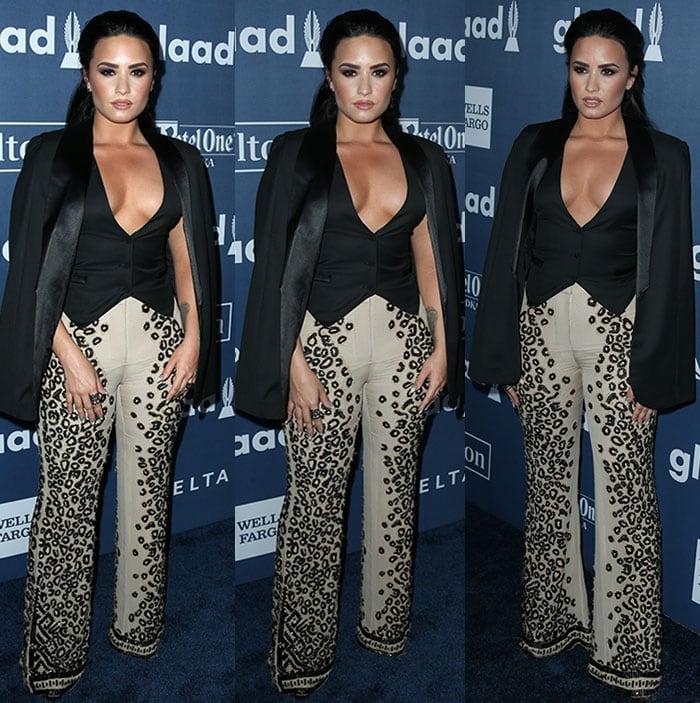 Demi-Lovato-cleavage-plunging-vest-blazer-cheetah-pants