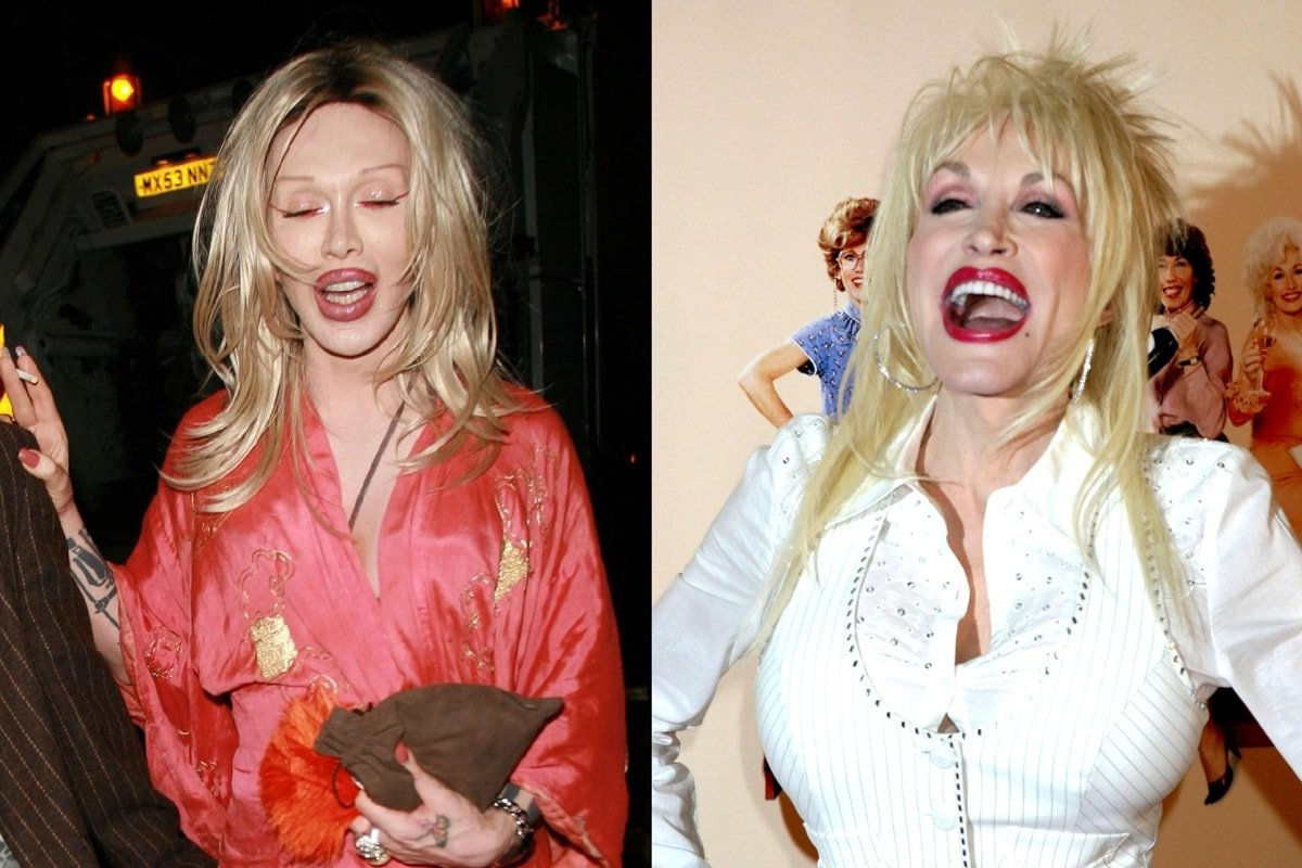 Dolly Parton and her lookalike Pete Burns are both known for their numerous plastic surgery operations