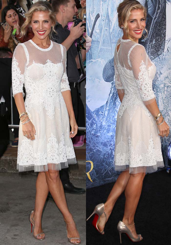 Elsa Pataky in a white lace-and-mesh dress by her friend and renowned designer Naeem Khan