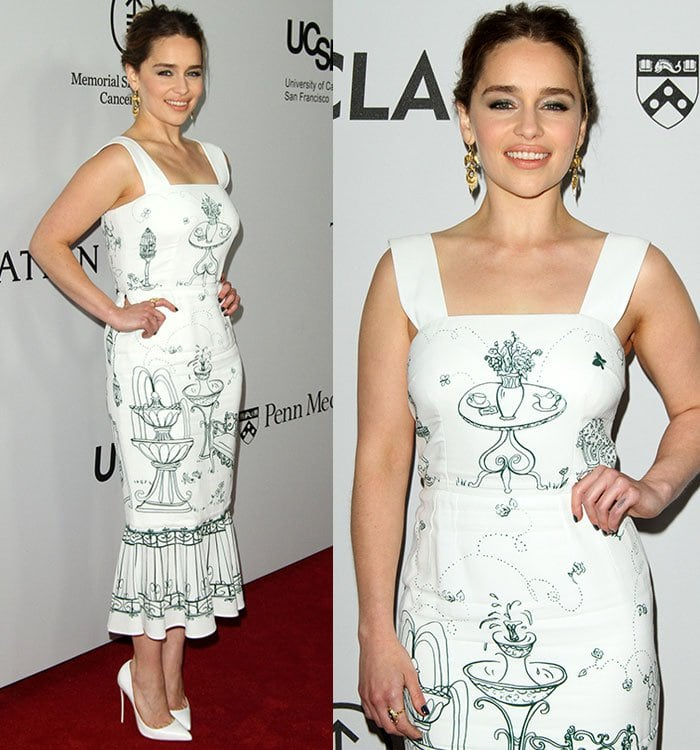 Emilia Clarke at the launch of The Parker Institute for Cancer Immunotherapy held at a private estate in Los Angeles on April 13, 2016