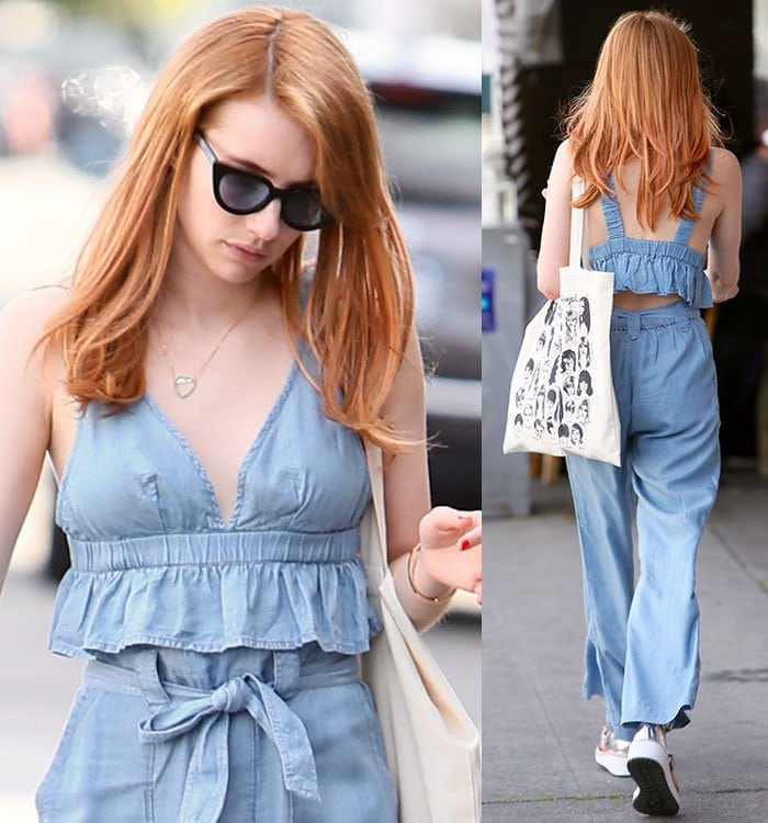 Emma-Roberts-Aerie-Chambray-Bralette-Top-Pants