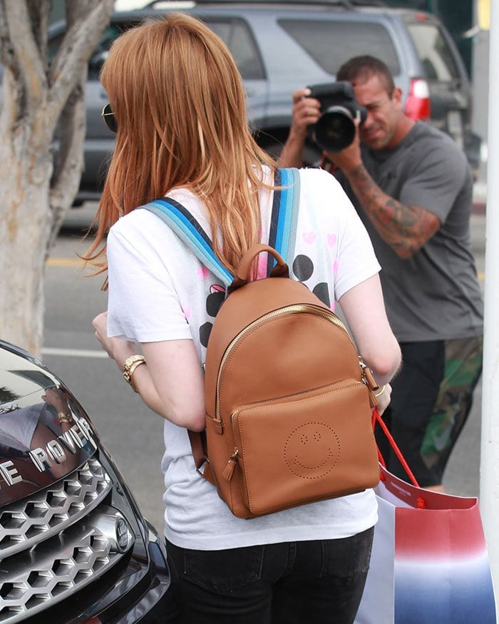 Emma-Roberts-Anya-Hindmarch-smiley-backpack