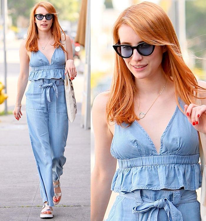 Emma-Roberts-blue-v-neck-bralette-tie-waist-pants