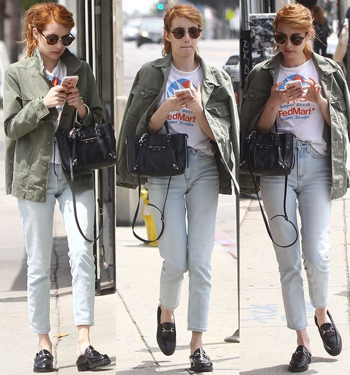 Emma-Roberts-casual-look-Gucci-loafers